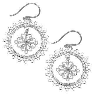 Handmade Silver-Plated Ornamented Floral Disc Dangle Earrings (Indonesia)