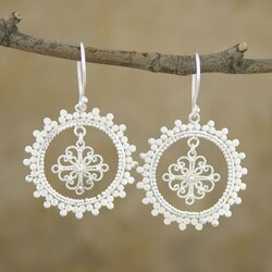 Silver-Plated Ornamented Floral Disc Dangle Earrings (Indonesia)