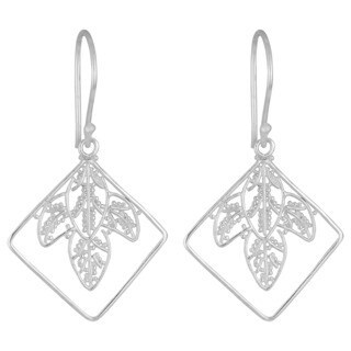 Handmade Silver-Plated 'Leaves' Dangle Earrings (Indonesia)