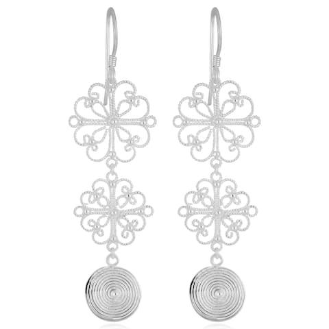 Handmade Silver Plated Swirl Disc Dangle Earrings (Indonesia)