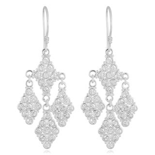 Handmade Silver Plated Ornamented Dangle Earrings (Indonesia)
