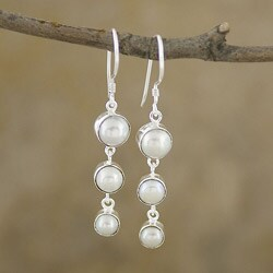 Handcrafted Mabe Pearl Silverplated Brass Dangle Earrings (Indonesia)