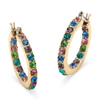 PalmBeach Multicolor Crystal Inside Out Hoop Earrings in Yellow Gold Tone Color Fun