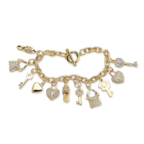 Round Crystal Yellow Gold-Plated Shoe, Purse, Heart Lock and Key Charm Bracelet