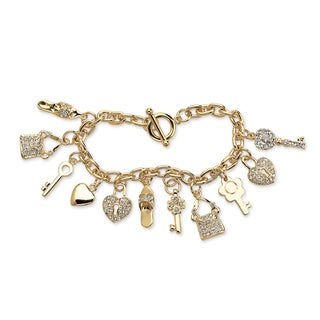 Link to Round Crystal Yellow Gold-Plated Shoe, Purse, Heart Lock and Key Charm Bracelet Similar Items in Bracelets