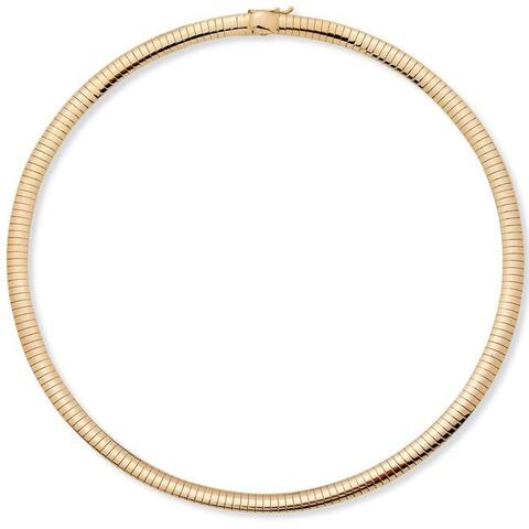 Gold Tone Choker Omega-Link Chain Necklace (6mm), 16""