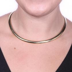 Yellow Goldtone Omega Link Choker Necklace (16 inches)