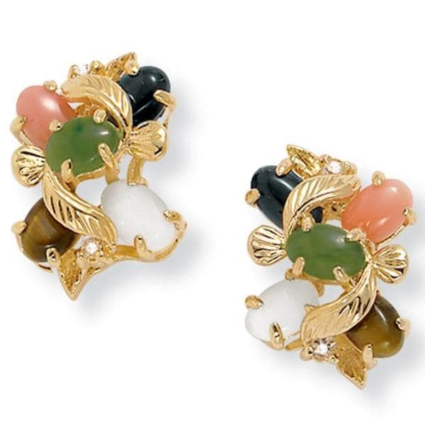 1/2 TCW Oval-Shaped Multi-Gemstone and Crystal Accent Earrings in Yellow Gold Tone Natural