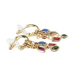 Lillith Star Goldtone Multi-colored Lucite Charm Earrings - Thumbnail 1