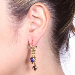 Lillith Star Goldtone Multi-colored Lucite Charm Earrings - Thumbnail 2