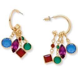 Lillith Star Goldtone Multi-colored Lucite Charm Earrings