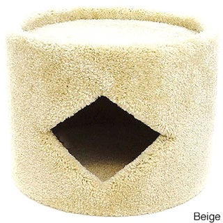 New Cat Condos Carpeted Wood Cat House (Option: Beige)