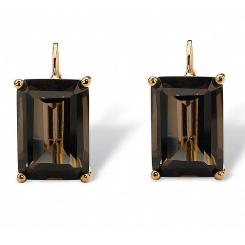 Yellow Gold-Plated Drop Earrings (16x10.5mm) Emerald Cut Genuine Smoky Quartz (14 1/2 cttw)