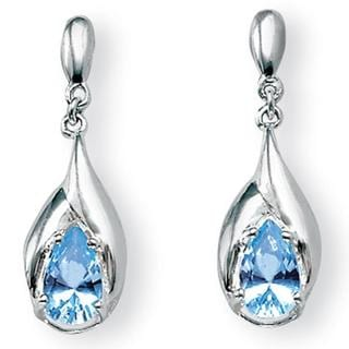 PalmBeach 2.20 TCW Pear-Cut Blue Topaz Drop Earrings in Sterling Silver