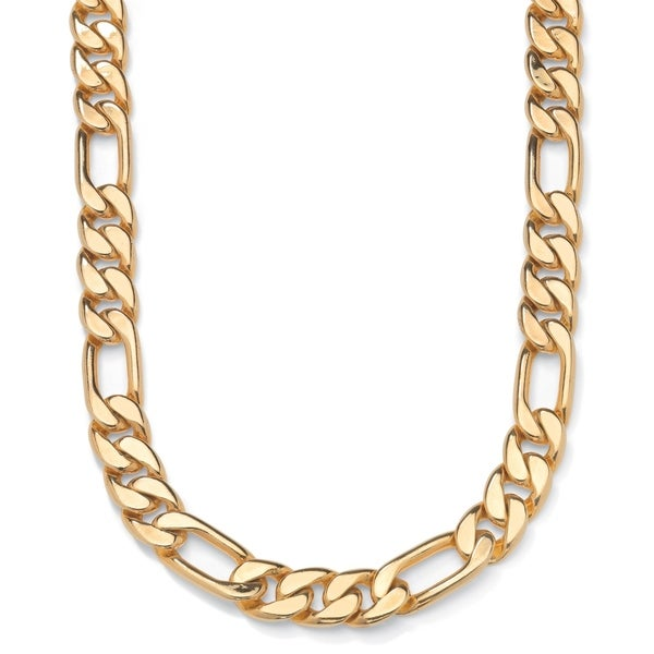 """Men's Gold Tone Figaro-Link Chain Necklace (9mm), 24"""""""
