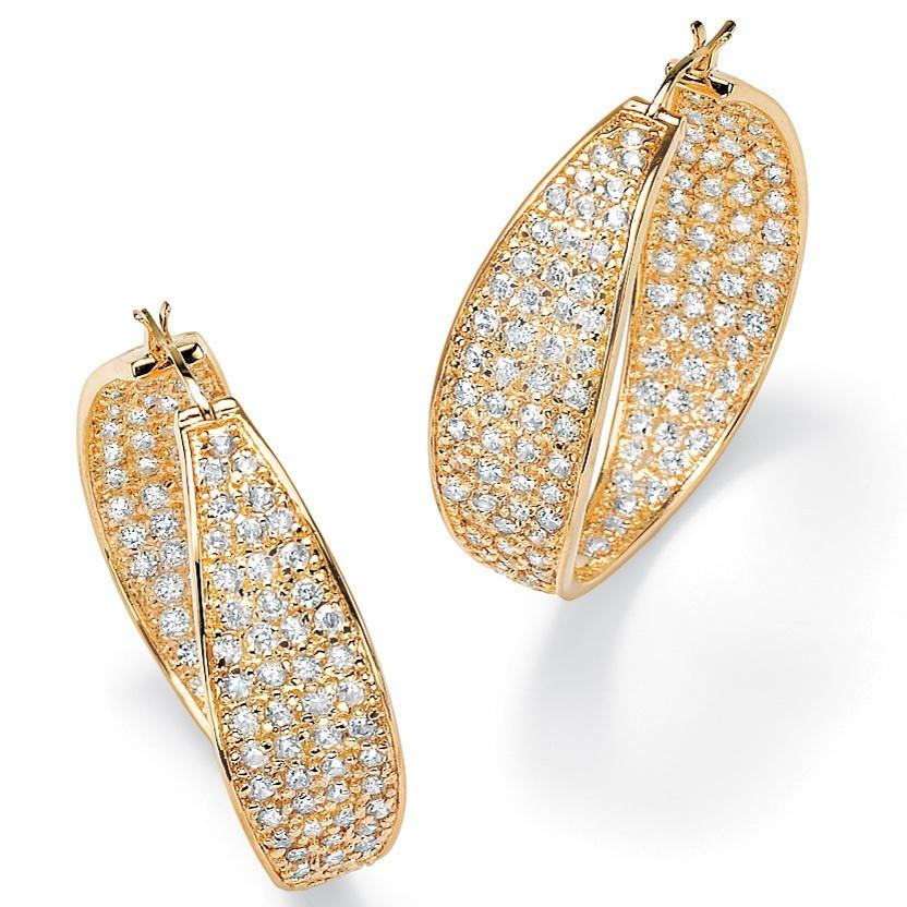 Ultimate CZ 14k Goldplated Clear Cubic Zirconia Hoop Earrings