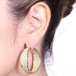 Ultimate CZ 14k Goldplated Clear Cubic Zirconia Hoop Earrings - Thumbnail 2