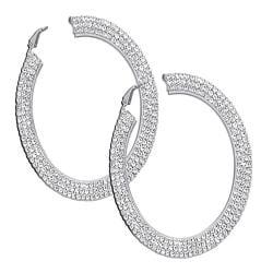 PalmBeach Crystal Hoop Earrings in Silvertone Bold Fashion