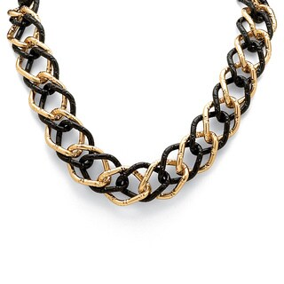 "Yellow Gold Tone Black-Ruthenium-Plated Curb-Link Necklace 19"" Bold Fashion"