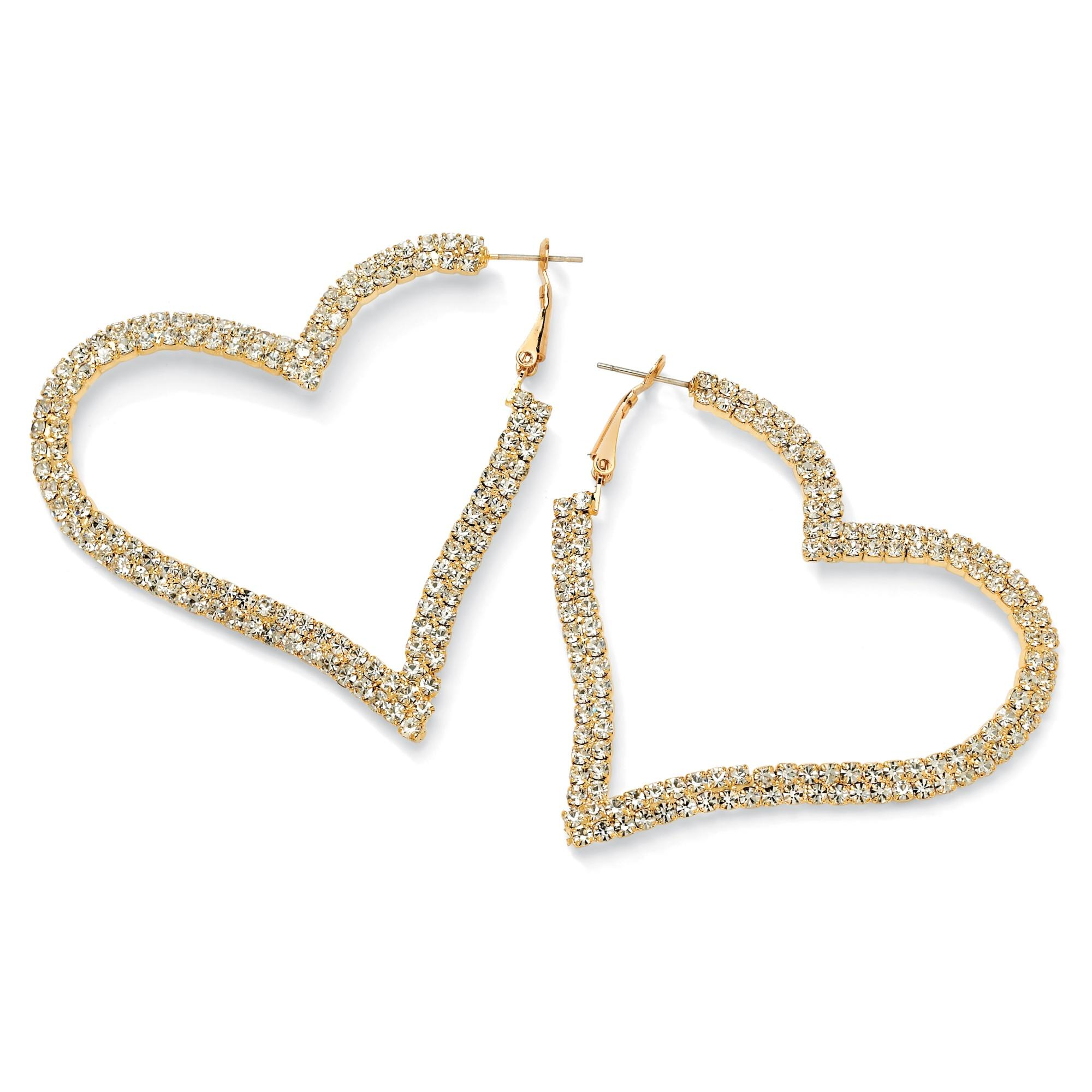Crystal Heart Hoop Earrings in Yellow Gold Tone Bold Fashion