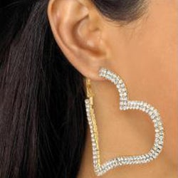Crystal Heart Hoop Earrings in Yellow Gold Tone Bold Fashion - Thumbnail 2