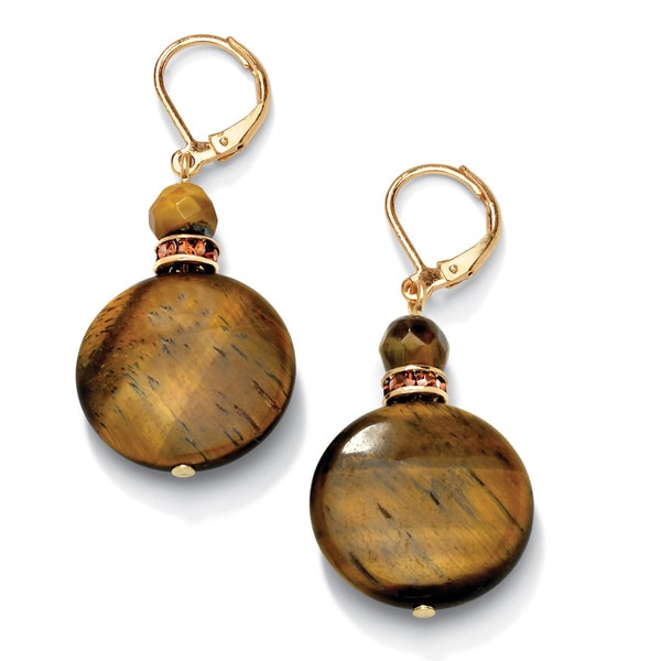 PalmBeach Genuine Tiger's-Eye Disk and Crystal Accent Drop Earrings in Yellow Gold Tone Naturalist