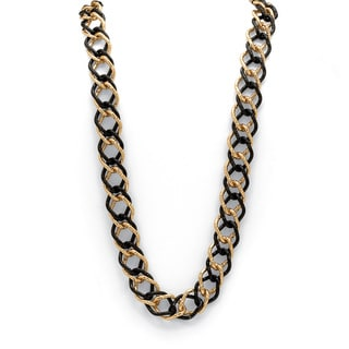 "Yellow Gold Tone Black Rhodium-Plated Curb-Link Necklace 34"" Bold Fashion"