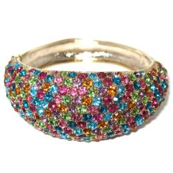 "PalmBeach Multicolor Crystal Bangle Bracelet in Yellow Gold Tone 8"" Color Fun"