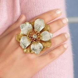 Crystal Flower Stretch Ring in Silvertone and Yellow Gold Tone Bold Fashion - Thumbnail 2
