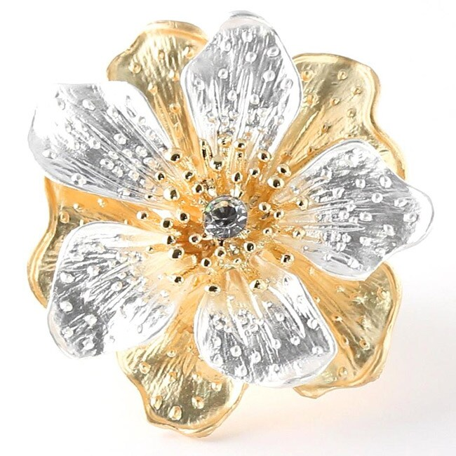 Crystal Flower Stretch Ring in Silvertone and Yellow Gold Tone Bold Fashion