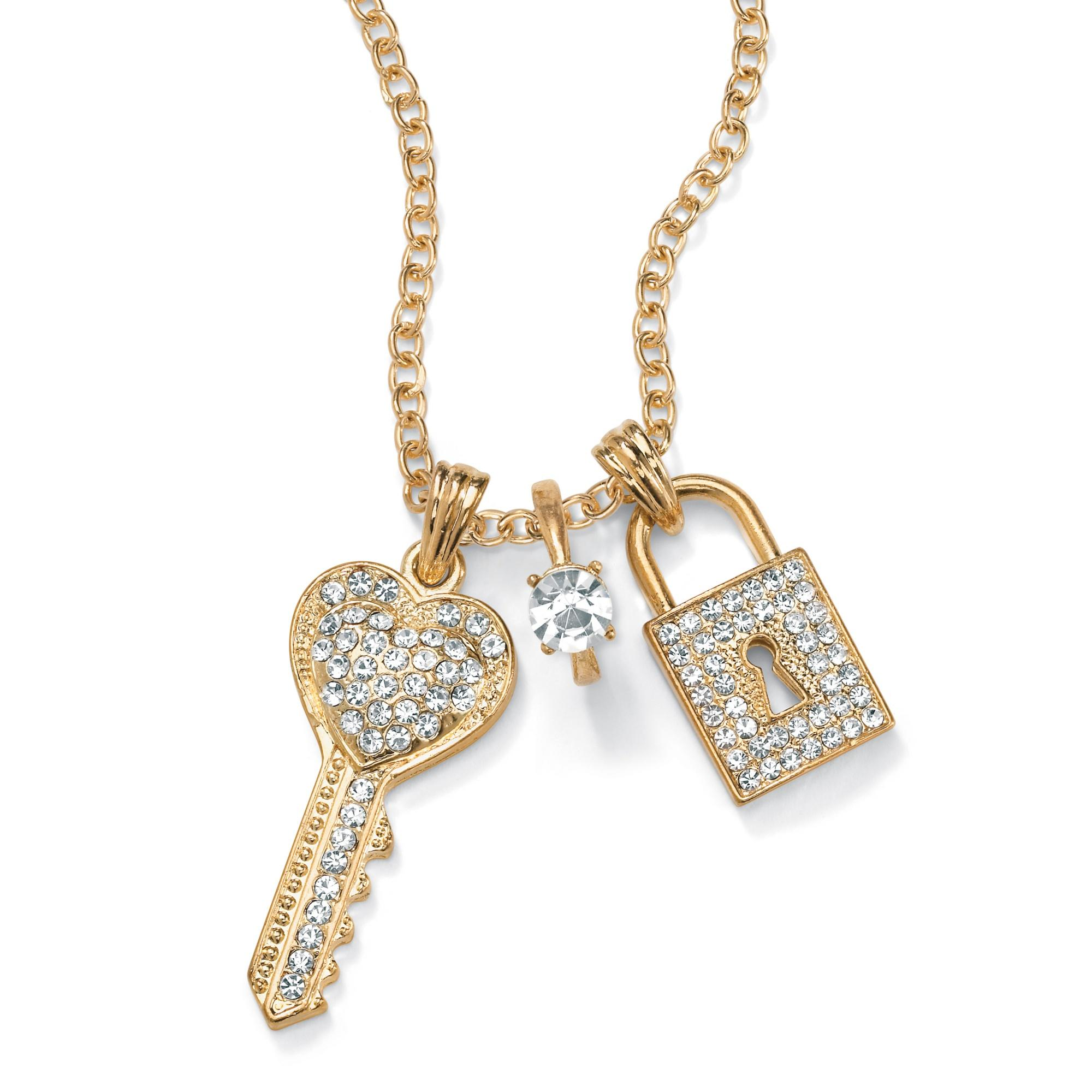 PalmBeach Crystal Key, Ring and Lock Charm Necklace in Yellow Gold Tone Bold Fashion