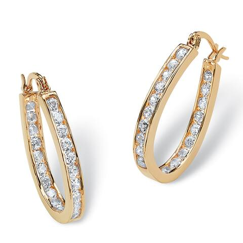Gold Overlay 2 1/2ct TGW Round Cubic Zirconia Inside-Out Hoop Earrings