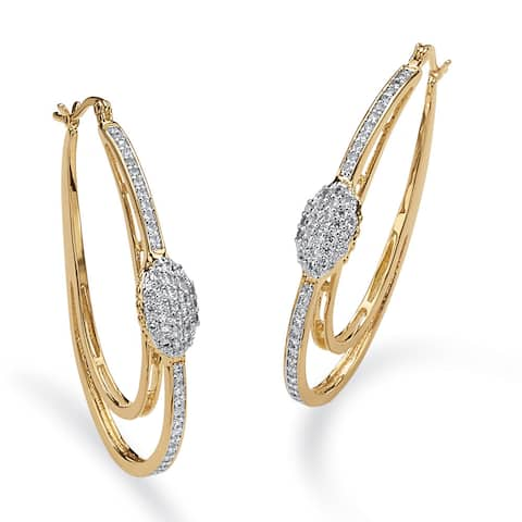 Yellow Gold-Plated Round Double Oval Hoop Earrings Cubic Zirconia (1 1/4 cttw TDW)