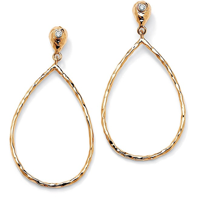 PalmBeach Cubic Zirconia Accent 14k Gold-Plated Pear-Shaped Hoop Drop Earrings Tailored