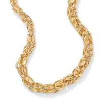 """Byzantine-Link Necklace in Yellow Gold Tone 20"""" Tailored"""