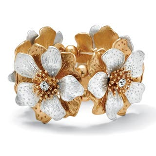 "Flower and Crystal Stretch Bracelet in Silvertone and Yellow Gold Tone 8"" Bold Fashion (Option: Crystal)
