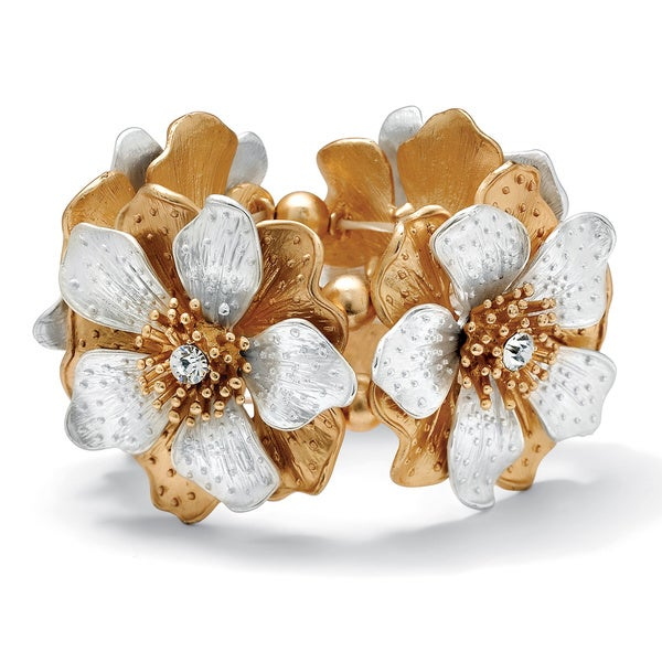 "Flower and Crystal Stretch Bracelet in Silvertone and Yellow Gold Tone 8"" Bold Fashion"