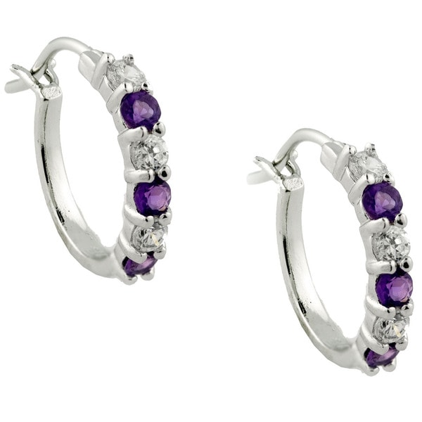 Gioelli Sterling Silver Gemstone Hoop Earrings
