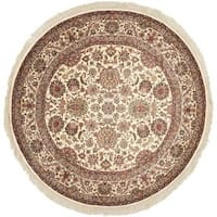 Safavieh Couture Royal Kerman Hand-Knotted Ivory/ Red Wool Area Rug (8' Round)