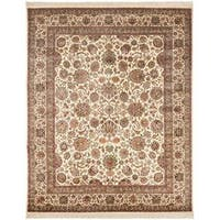Safavieh Couture Royal Kerman Hand-Knotted Ivory/ Red Wool Area Rug - 10' x 14'
