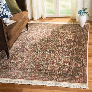 Asian Hand-Knotted Royal Kerman Traditional Ivory Wool Rug (12' x 18')