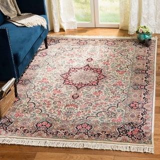 Asian Hand-knotted Royal Kerman Ivory and Navy Wool Rug (5' x 7'6)