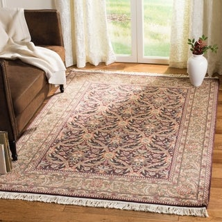 Asian Hand-knotted Royal Kerman Purple and Green Wool Rug (10' x 14')