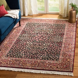 Asian Hand-knotted Royal Kerman Black and Red Wool Rug (10' x 14') - 10' x 14'