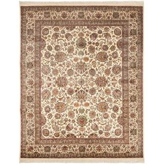 Asian Hand-knotted Royal Kerman Ivory Wool Rug (12' x 18')