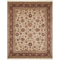 Safavieh Couture Royal Kerman Hand-Knotted Ivory/ Red Wool Area Rug (5' x 7')