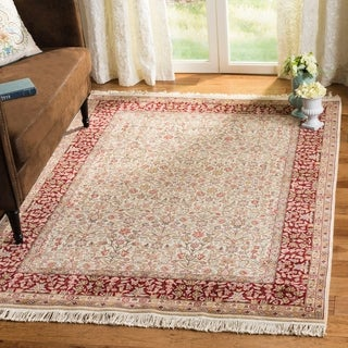 Asian Hand-knotted Royal Kerman Ivory and Red Wool Rug (10' x 14') - 10' x 14'