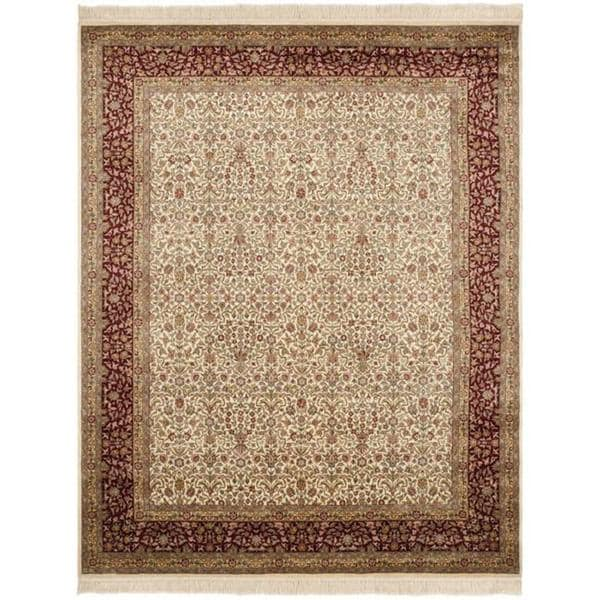Asian Hand-knotted Royal Kerman Ivory and Red Wool Rug (10' x 14')