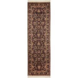 Asian Hand-knotted Royal Kerman Purple Wool Rug (2'6 x 18')