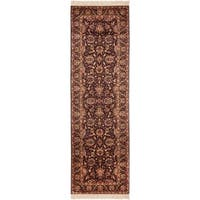 Safavieh Couture Royal Kerman Hand-Knotted Plum/ Beige Wool Area Rug (2'6 x 18')